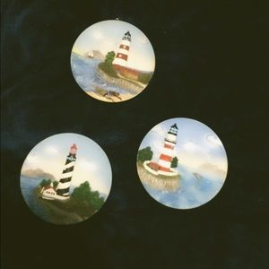 "Set of 3 lighthouse mini 4"" wall plates"